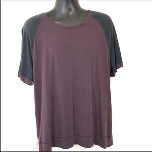 Lululemon Men Purple T-shirt Color Block Black XXL